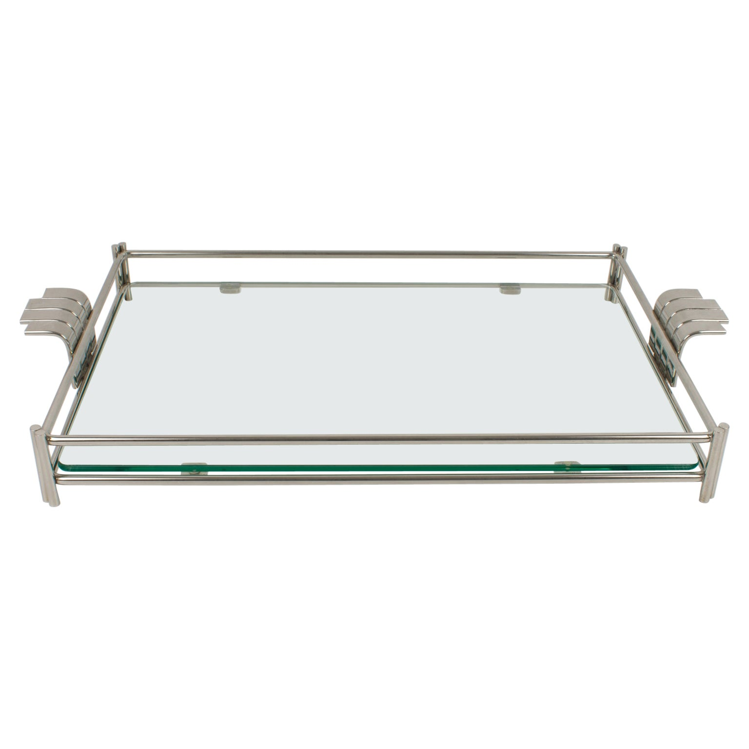 Christian Dior Barware Nickel Silver and Glass Tray