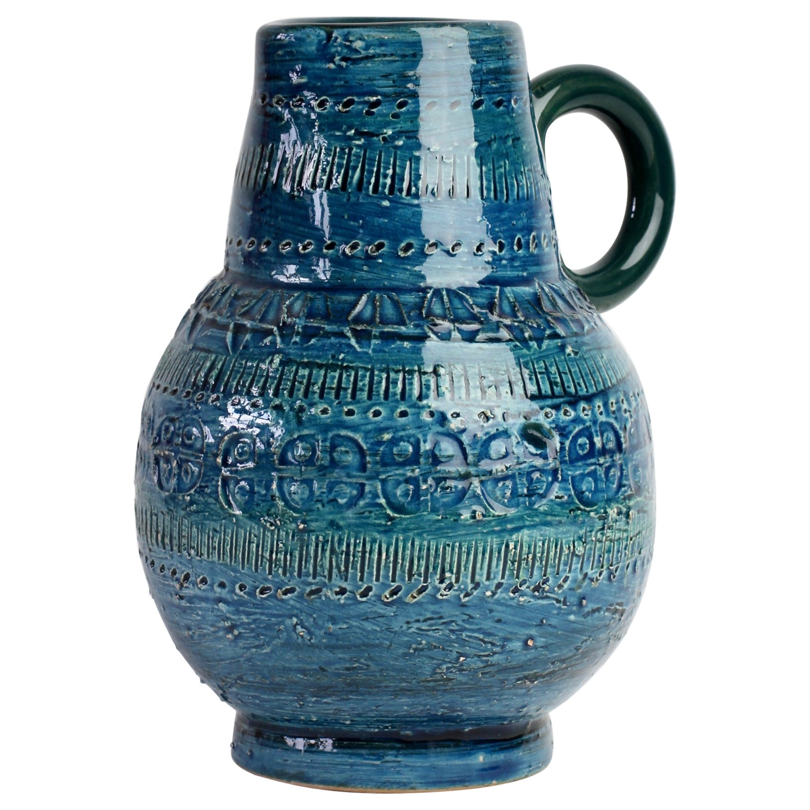 Italian Ceramic Rhimini Blue Vase by Aldo Londi for Bitossi, circa 1960s