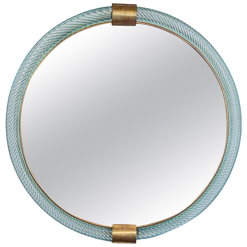 1950s Italian Circular Mirror Light Blue Ritorto Blown Murano Glass by Seguso