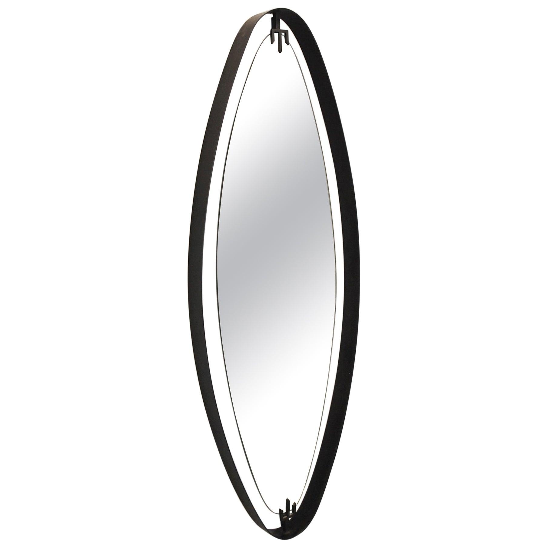Oval Mirror in Iron by Sant'Ambrogio y de Berti, Italy, 1950s