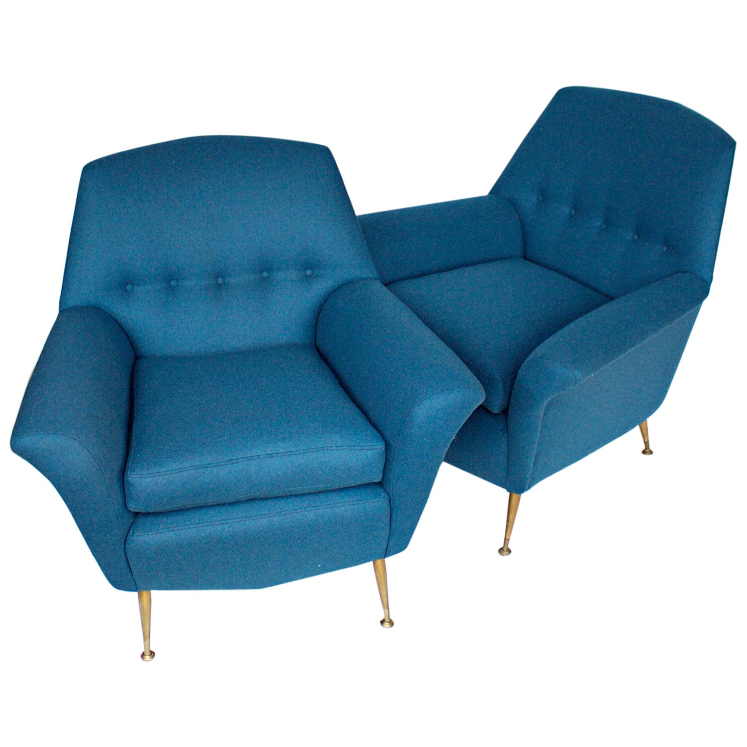 Pair of Vintage 1950s Italian Lounge Chairs Upholstered in Marine Wool