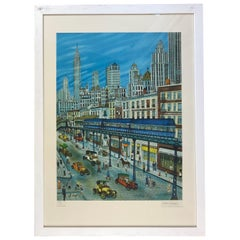 New York Lithograph by Artist Dan Gandre, Signed and Numbered, Limited Edition