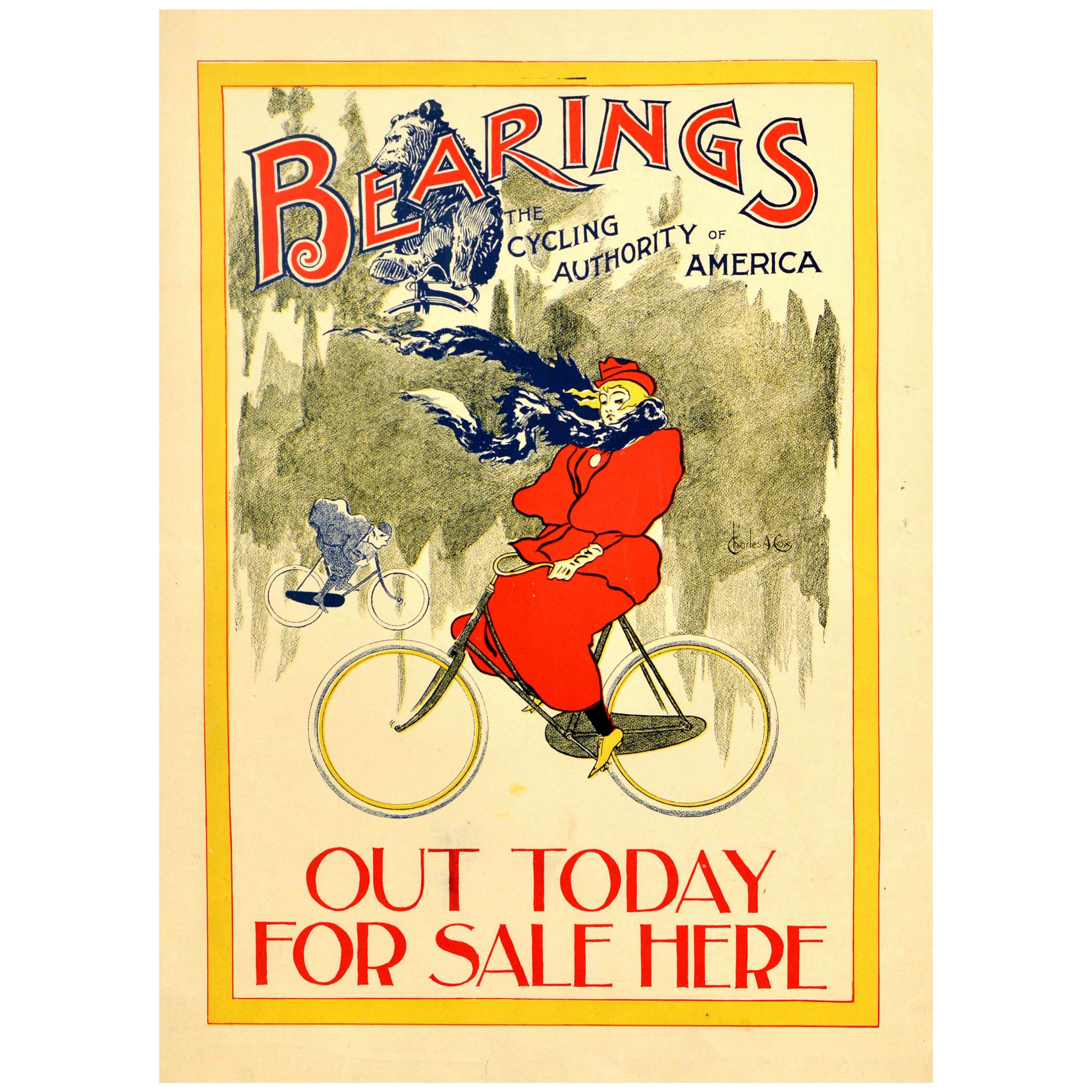 Original Antique Poster Bearings The Cycling Authority Of America Magazine Art