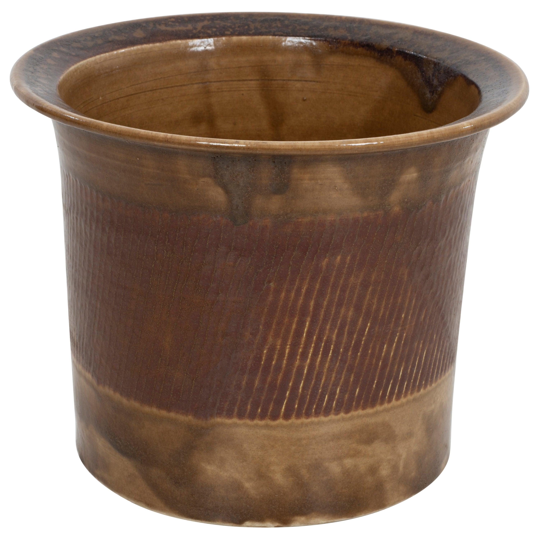 Large Rimmed Bruno Gambone Architectural Vase