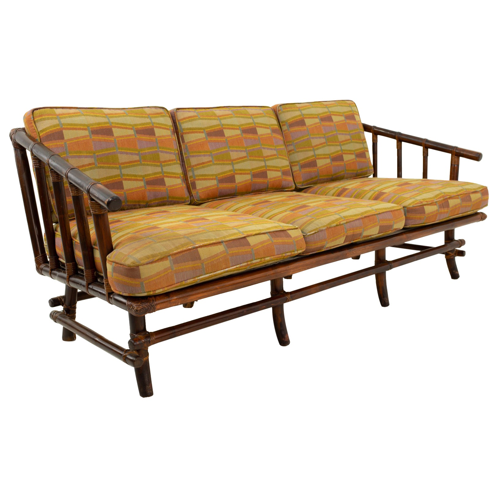 John Wisner for Ficks Reed Style Bamboo Mid Century 3-Seat Sofa