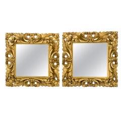 Pair of Antique Baroque Handcarved Square Italian Giltwood Mirror