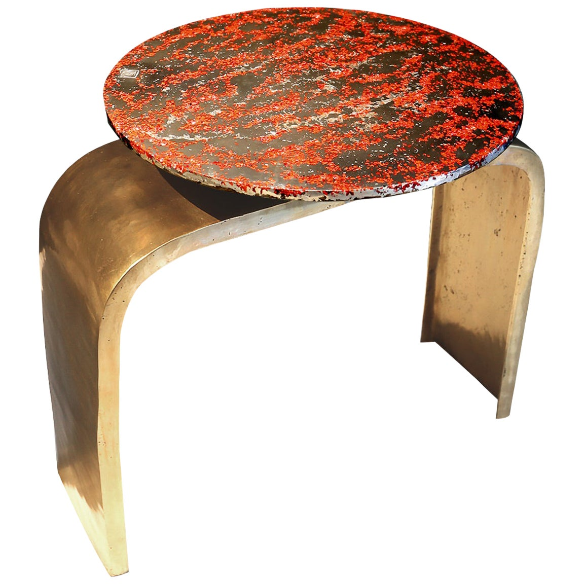 """Console Table """"Bridge legs red #2"""", Melted Pewter, Murano Glass, Crystal Resin"""