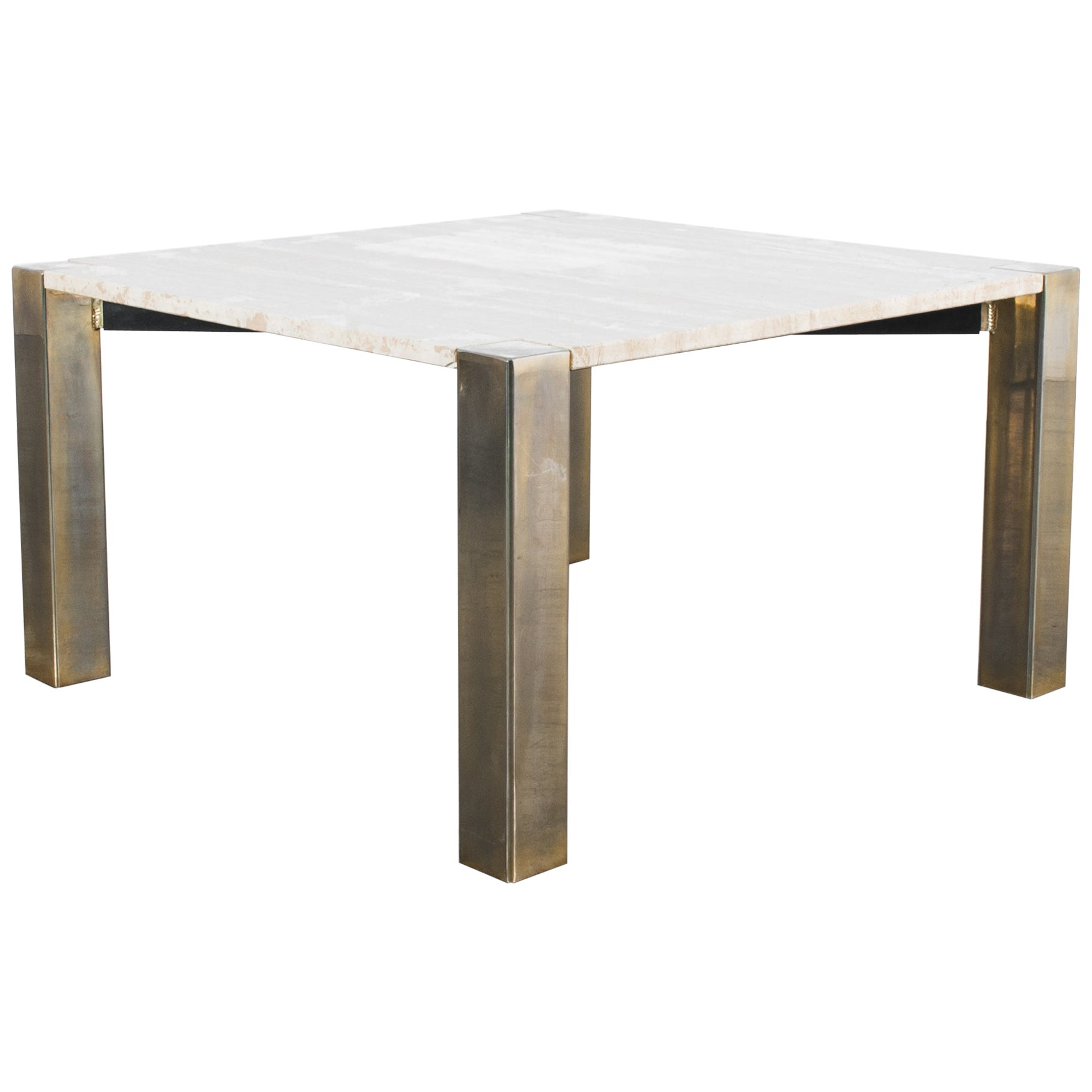 1970s Italian Travertine and Brass Coffee Table