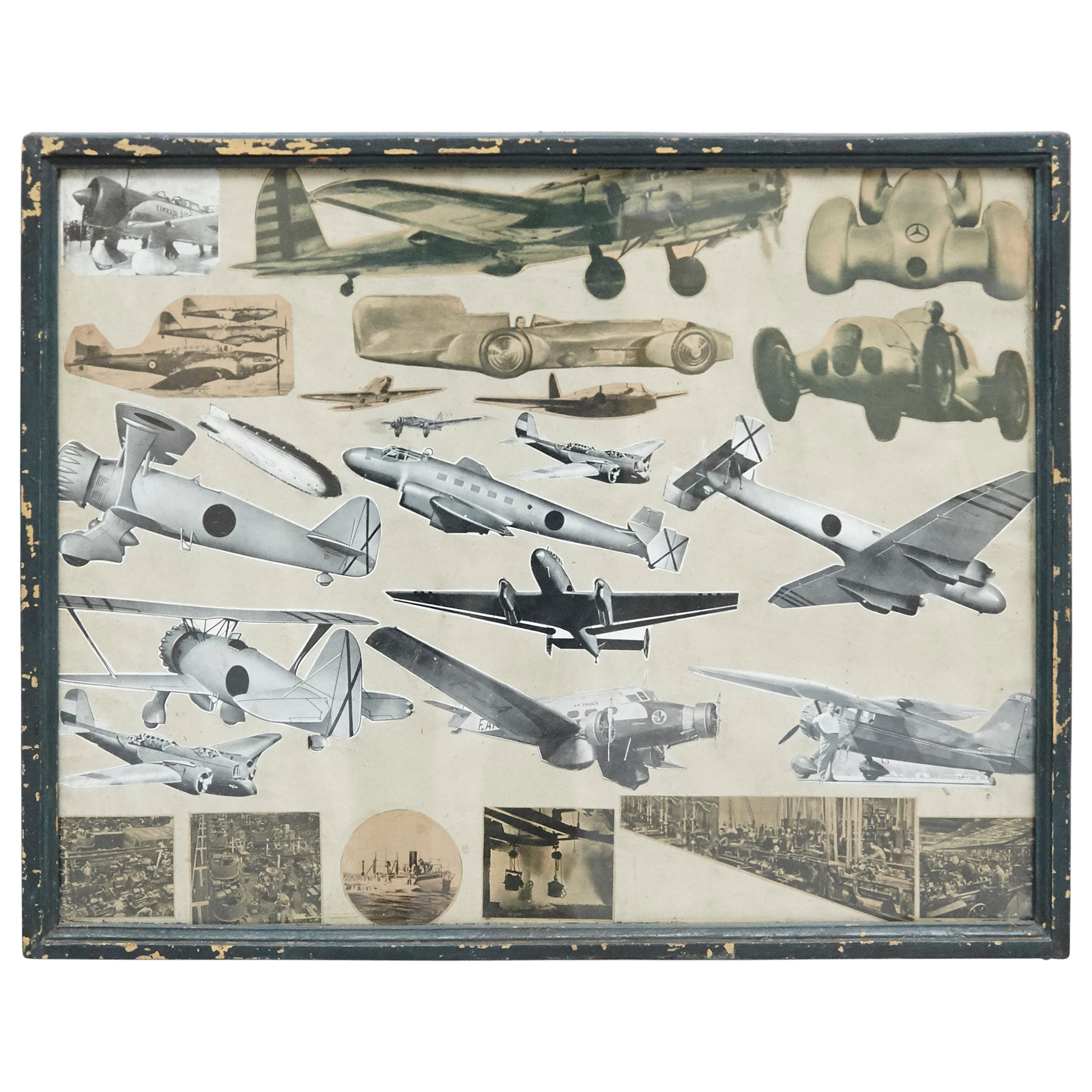 Early 20th Century French Antique Aviation Collage Composition