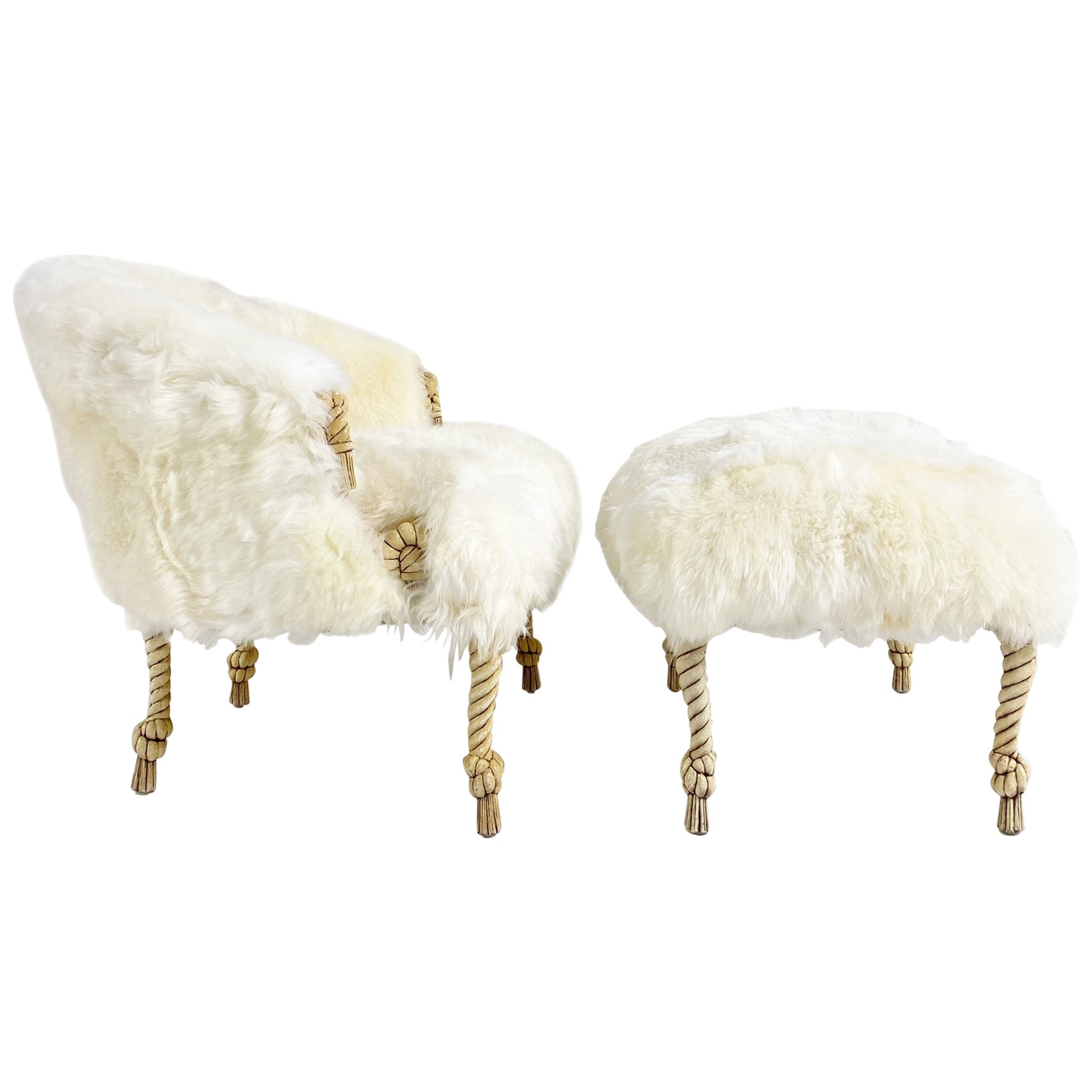 Napoleon III Style Rope and Tassel Carved Chair and Ottoman in Sheepskin