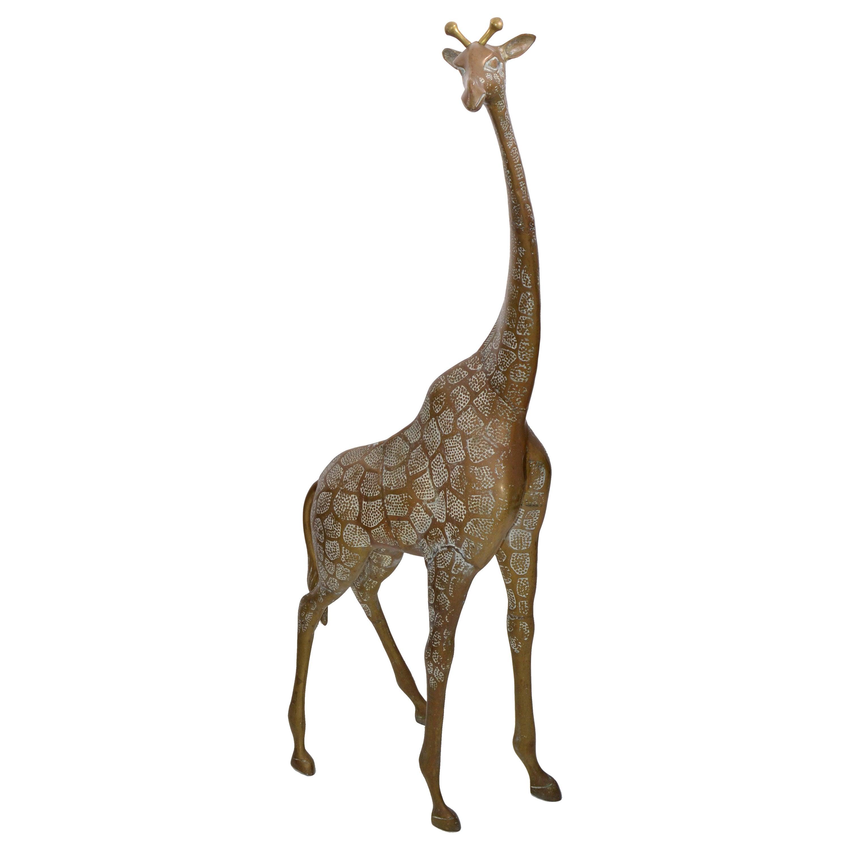 Monumental Mid-Century Modern Handcrafted Brass Bronze Giraffe, Animal Sculpture