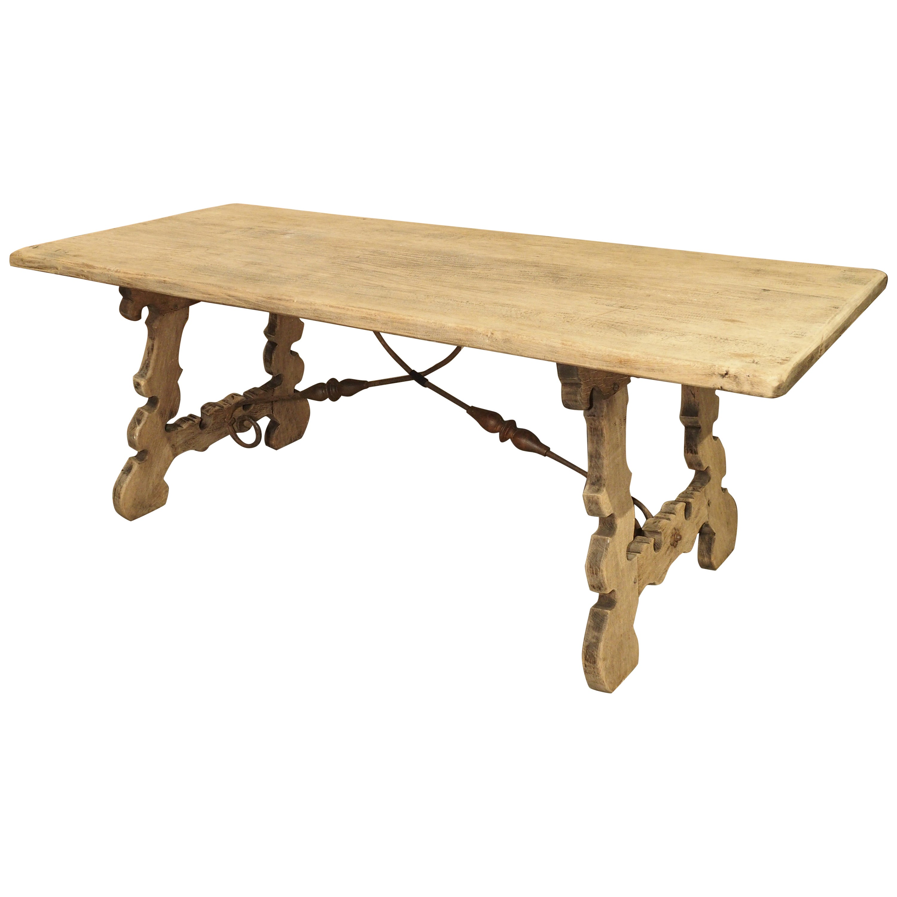 Stripped Oak Dining Table with Wrought Iron Stretchers from Spain, 20th Century