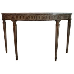 Neoclassical Carved and Painted Console Table with Acanthus Leaf Design