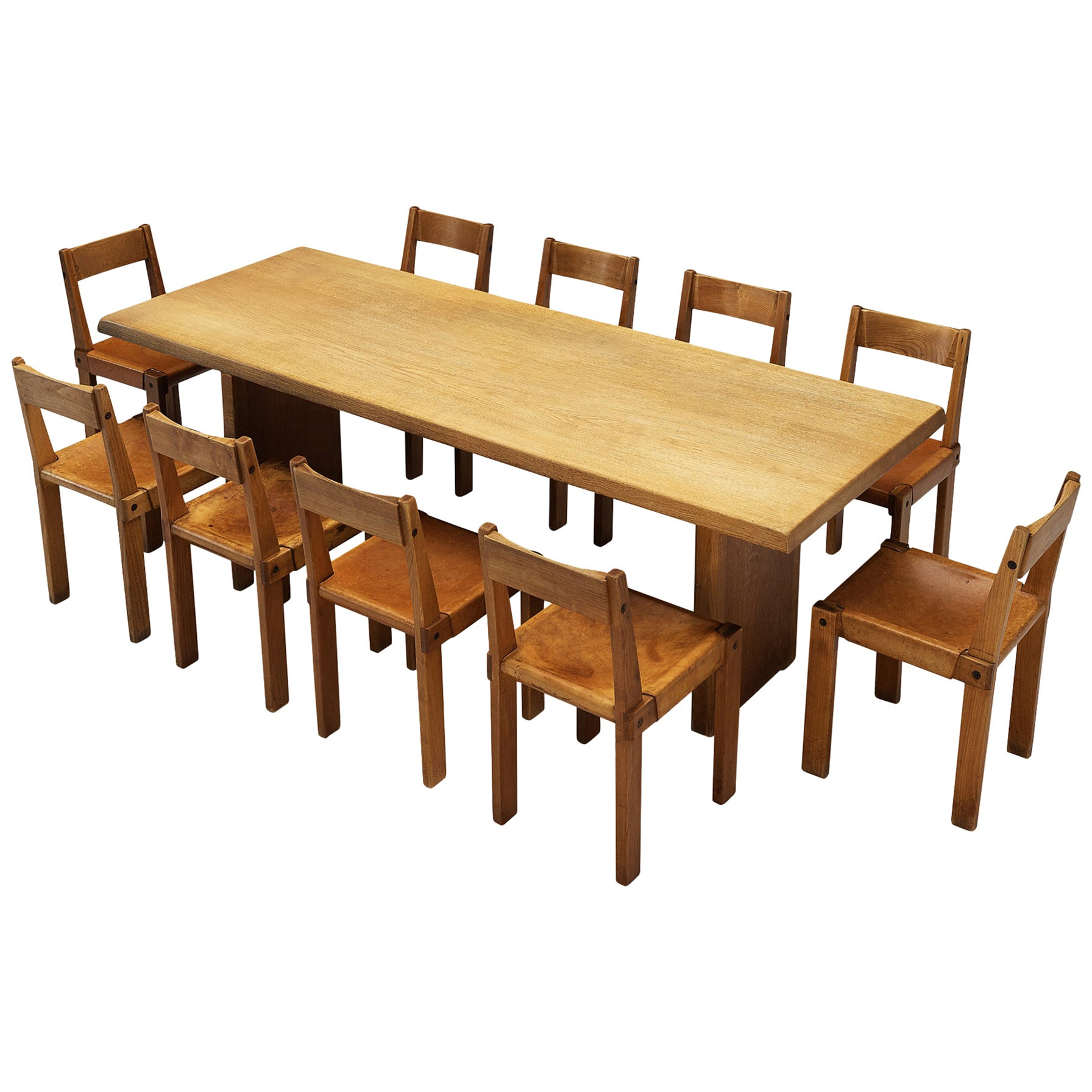 Pierre Chapo S24 Dining Chairs and 'T14D' Table