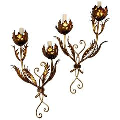 Gilt Metal Double-Light Sconces