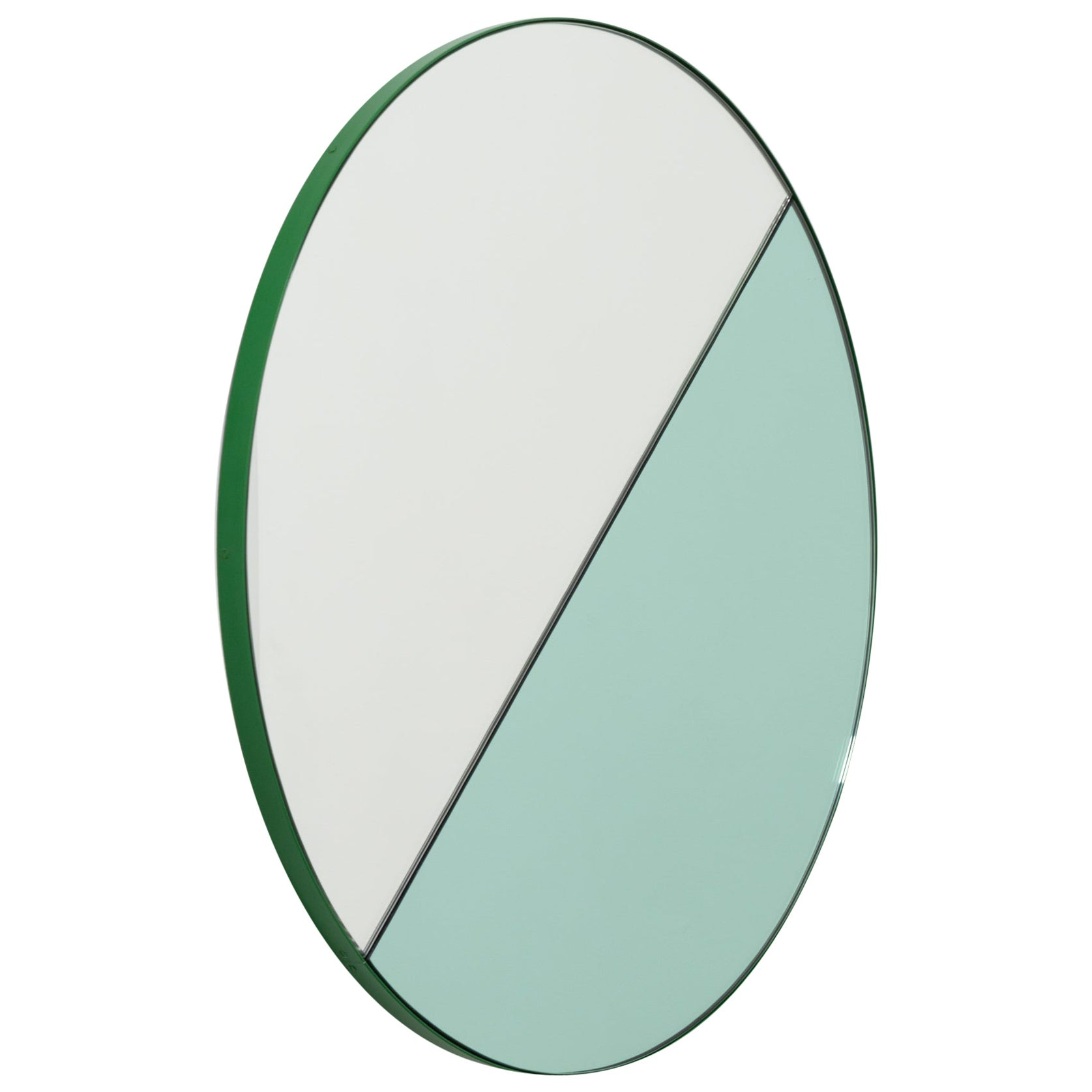 Orbis Dualis Mixed 'Green + Silver' Round Mirror with Green Frame, Small