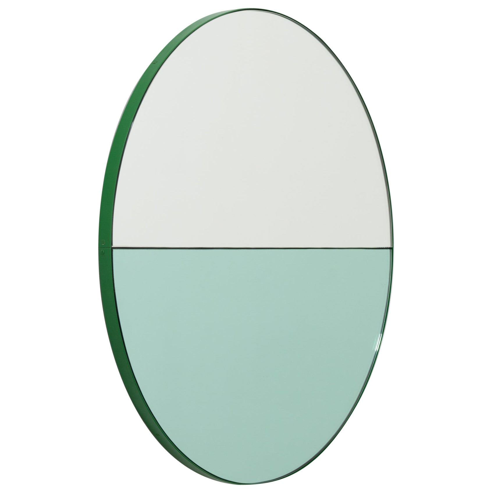 Orbis Dualis Mixed 'Green + Silver' Round Mirror with Green Frame, Oversized
