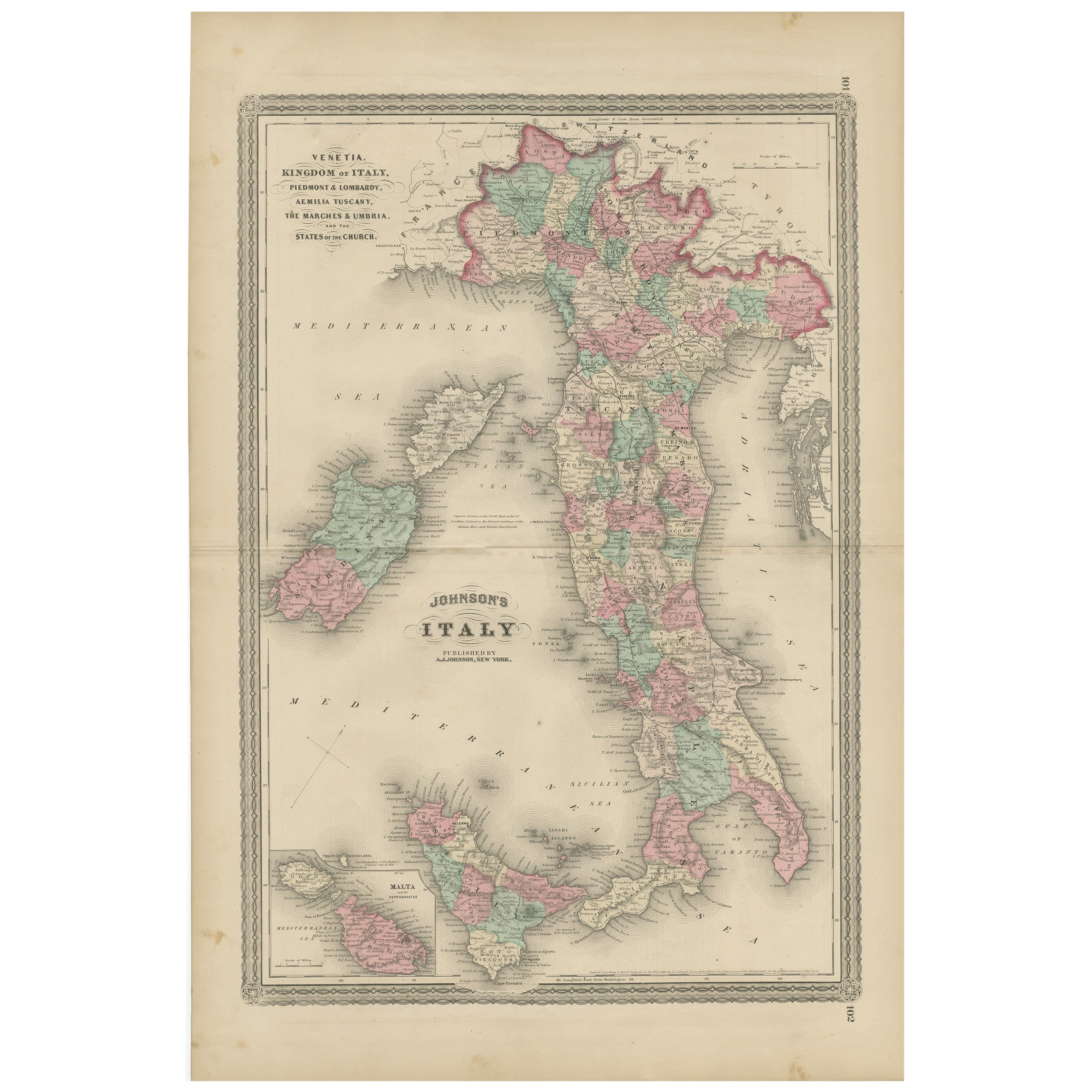 Antique Map of Italy by Johnson, 1872