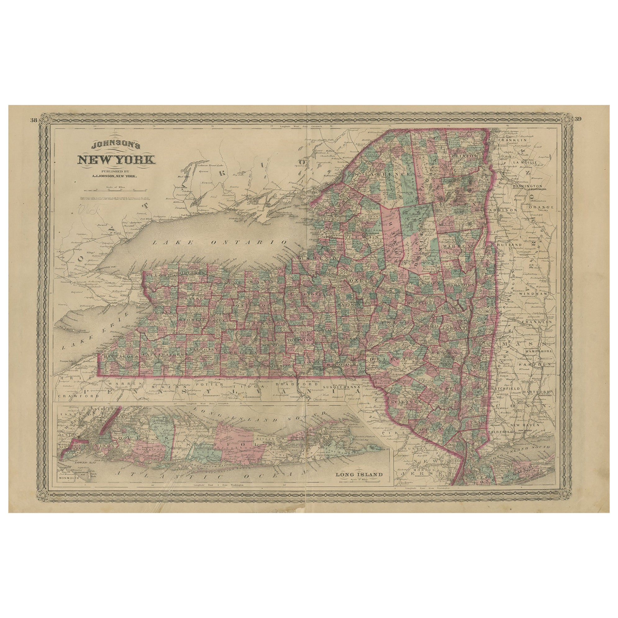 Antique Map of New York by Johnson '1872'