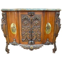 Carved Italian Chest with Marble Top