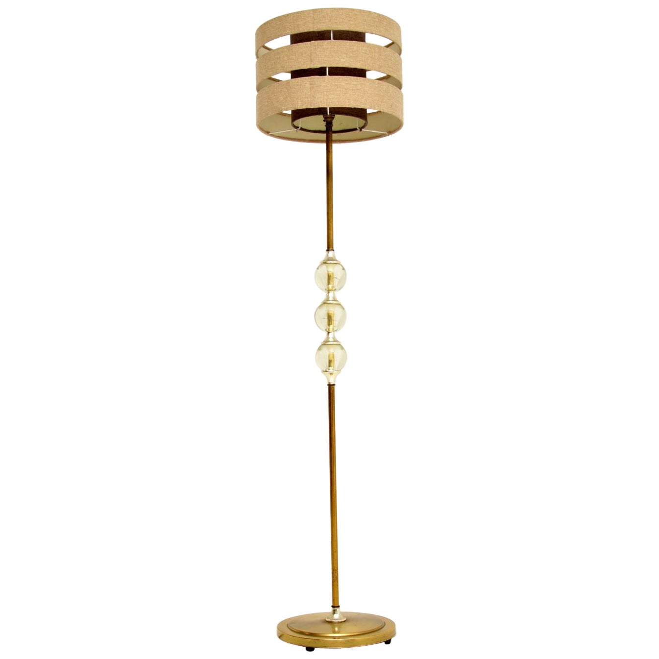 1960s Vintage Brass and Acrylic Floor Lamp