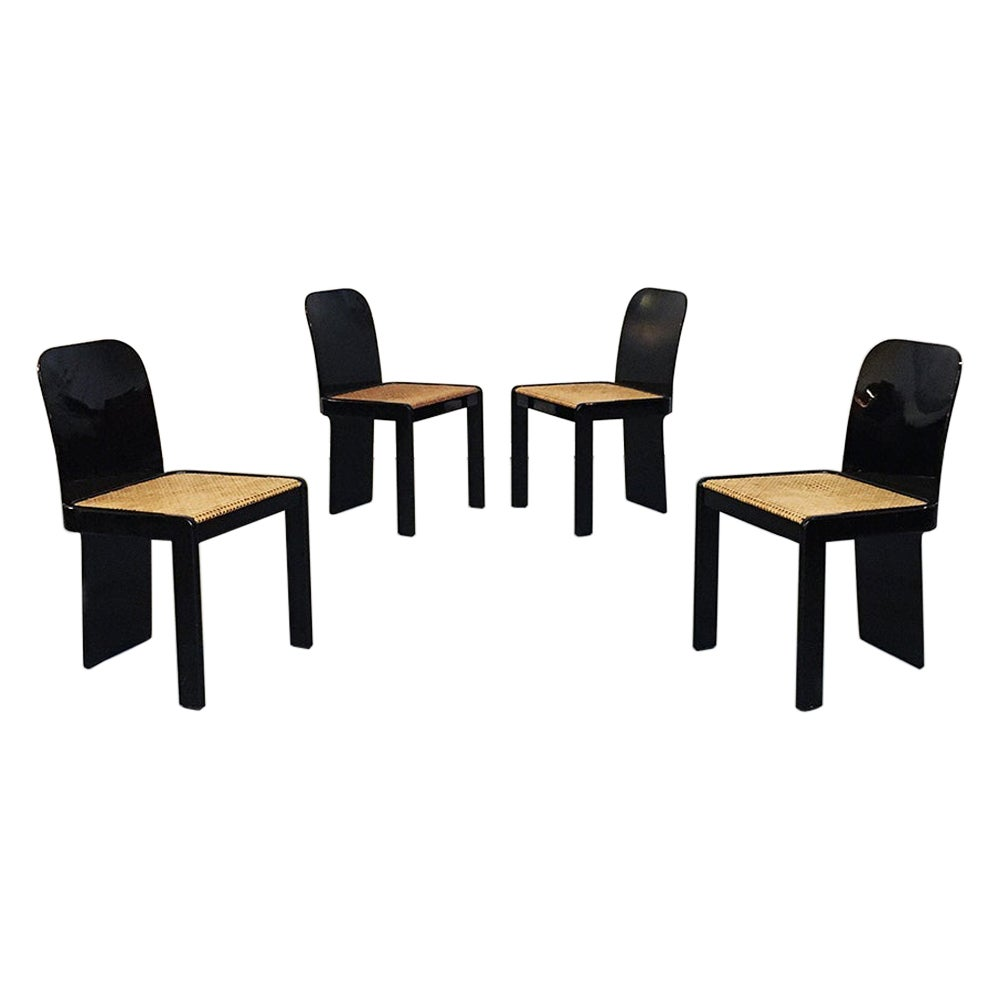 Italian Black Lacquer Wood and Straw Chairs by P. Molinari for Pozzi, 1970s