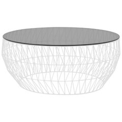 Modern Wire Coffee Table in White with Smoke Glass Top by Bend Goods