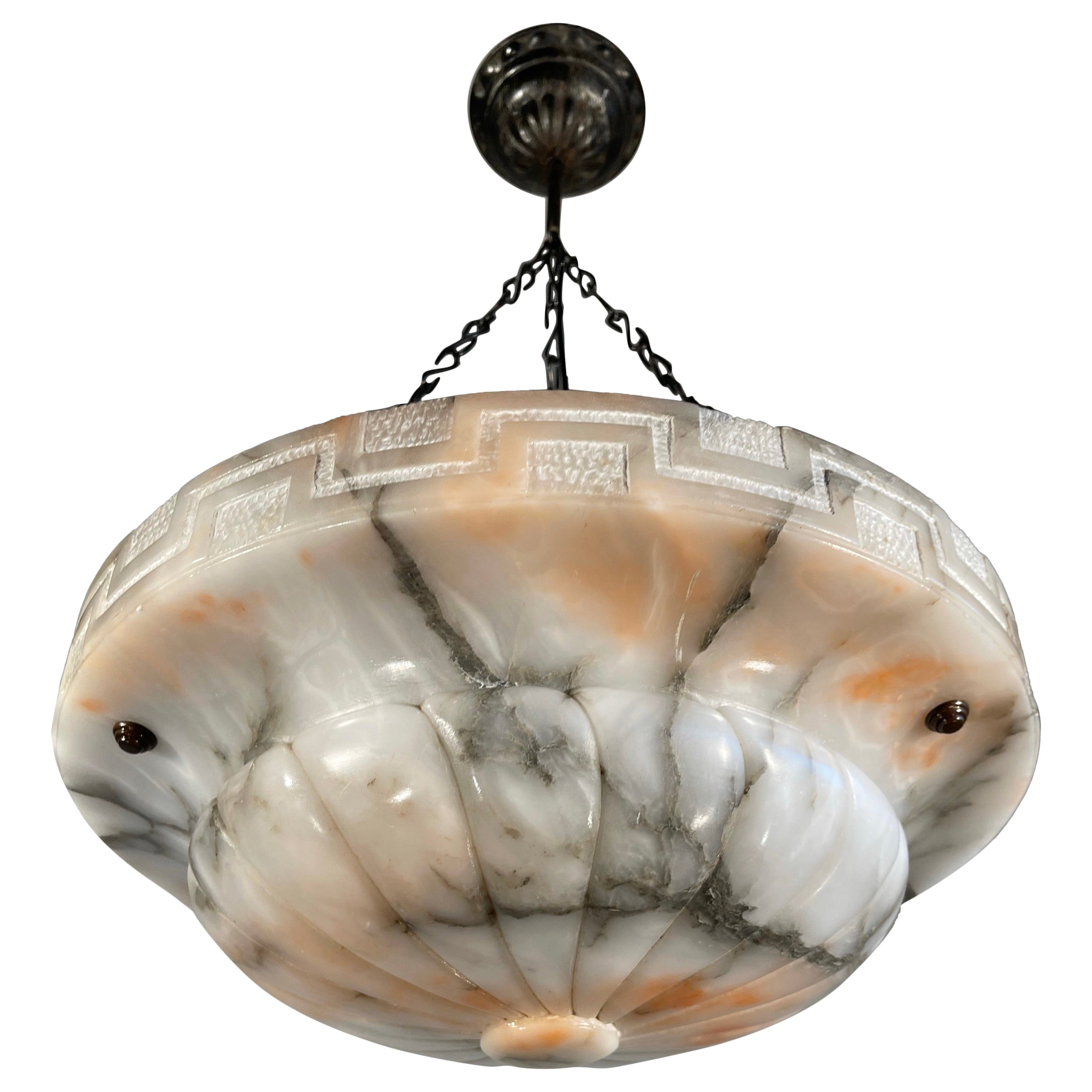 Antique White Alabaster Pendant Light with Black Veins and Amber Color Clouds