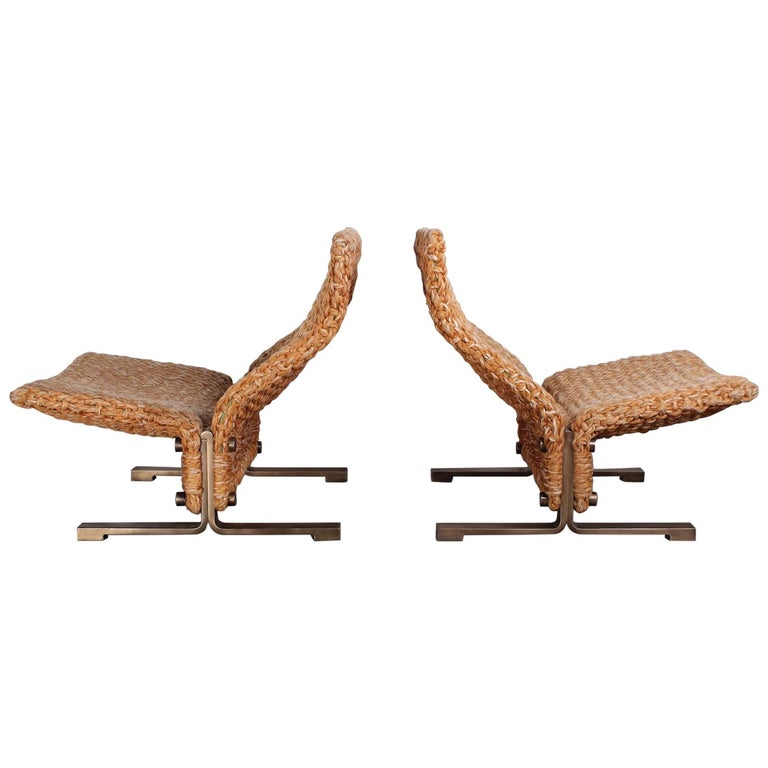 Pair of Marzio Cecchi Rope Lounge Chairs