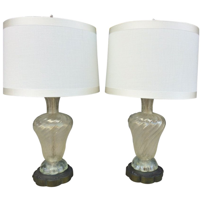 Pair of Murano Glass Lamps Made in Italy