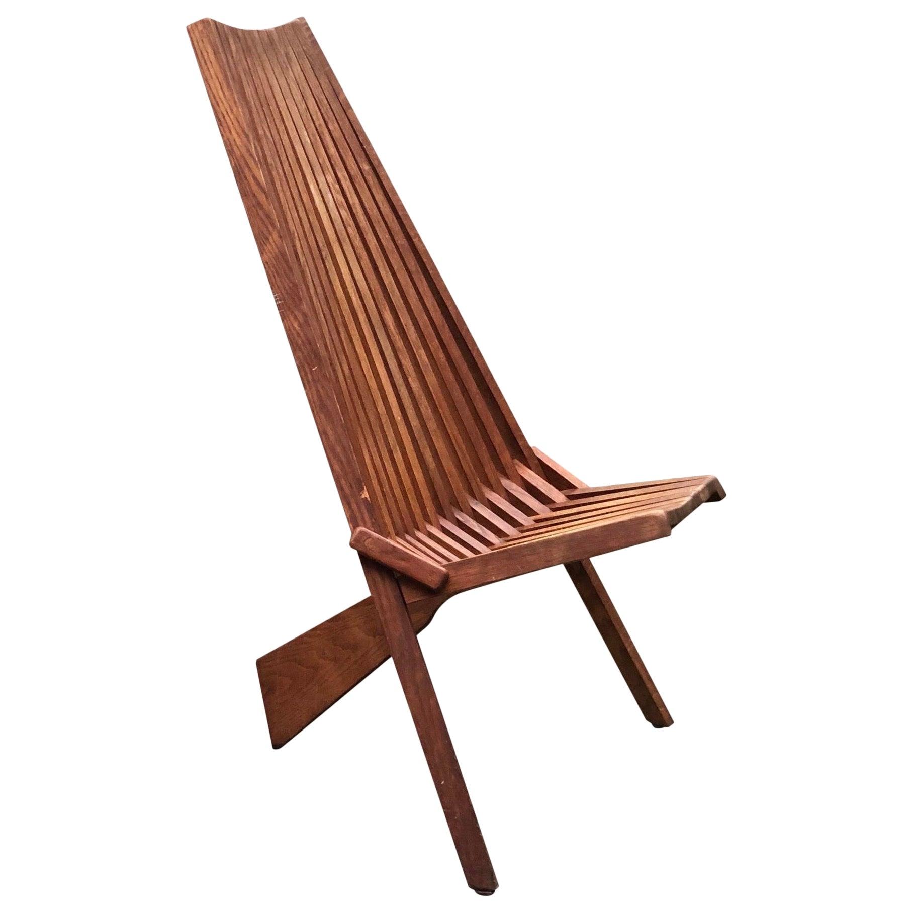 Vintage Mid-Century Modern Danish Teak Folding Slat Lounge Chair