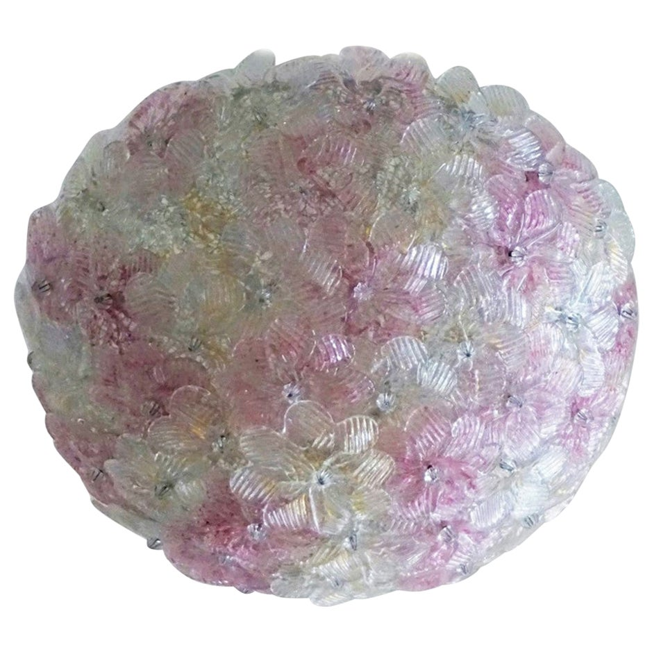 Italian Murano Flower Basket Flushmount or Wall Lamp by Barovier & Toso, 1960s