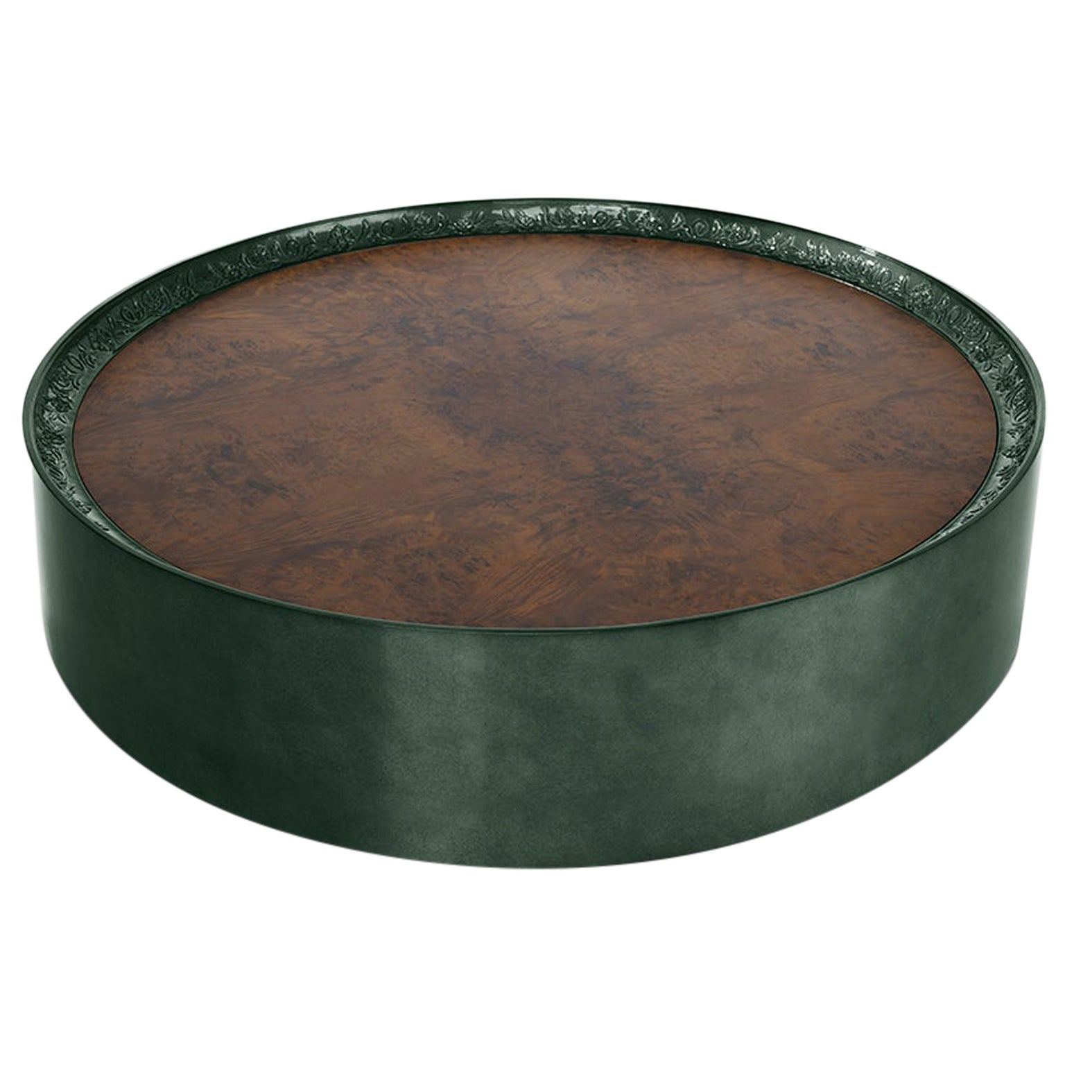 Modern Shy Green Center Table, Carved Wood with Silver Leaf and Wood Veneer Top