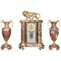 Late 19th Century French Rouge Marble Four Glass Clock Set