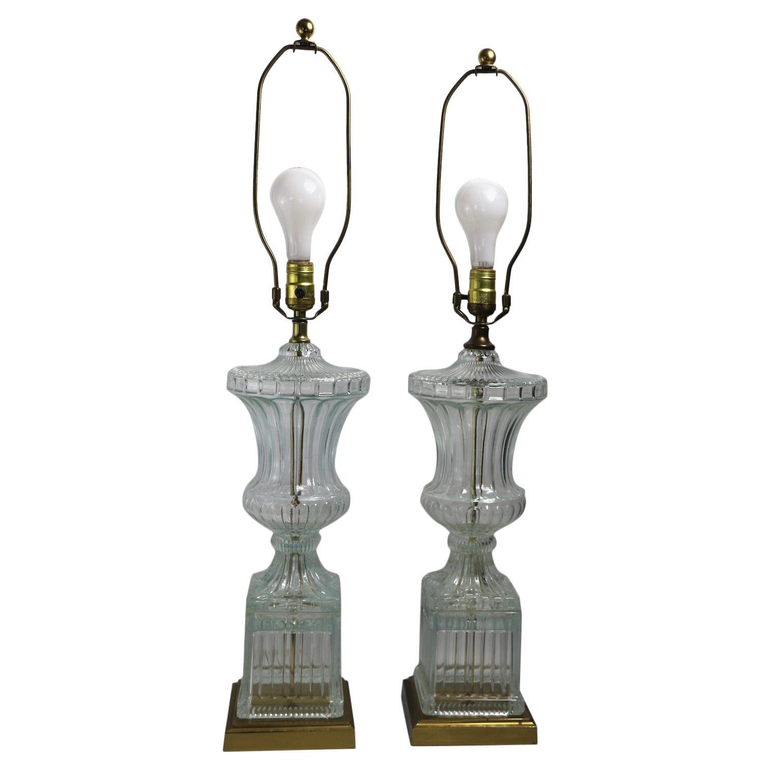 Pair of Glass Urn Form Table Lamps by Paul Hanson