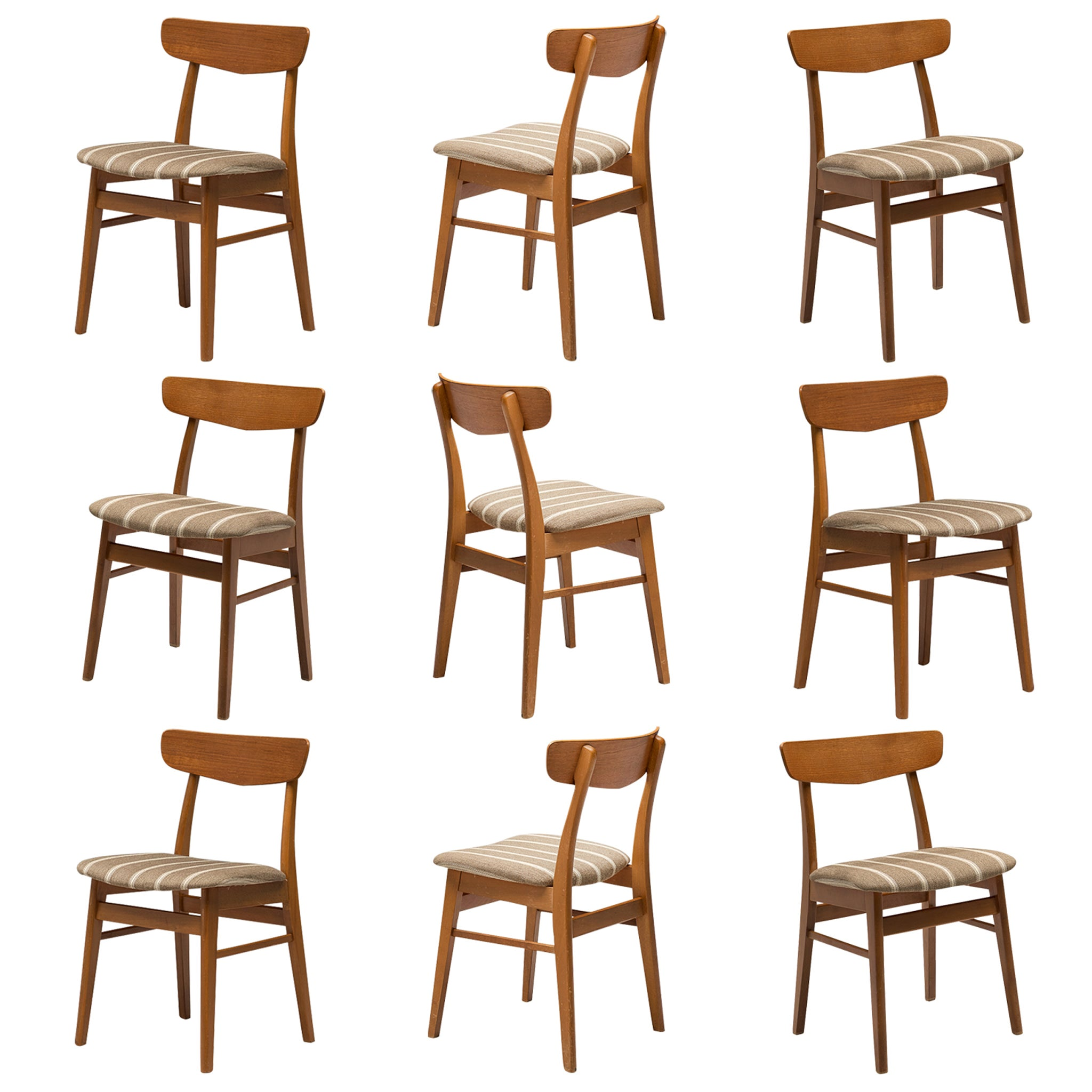 Large Set of Danish Dining Chairs in Teak