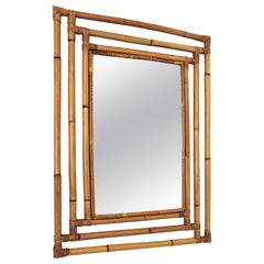 Bamboo Rattan Rectangular Large Mirror with Geometric Frame, 1960s