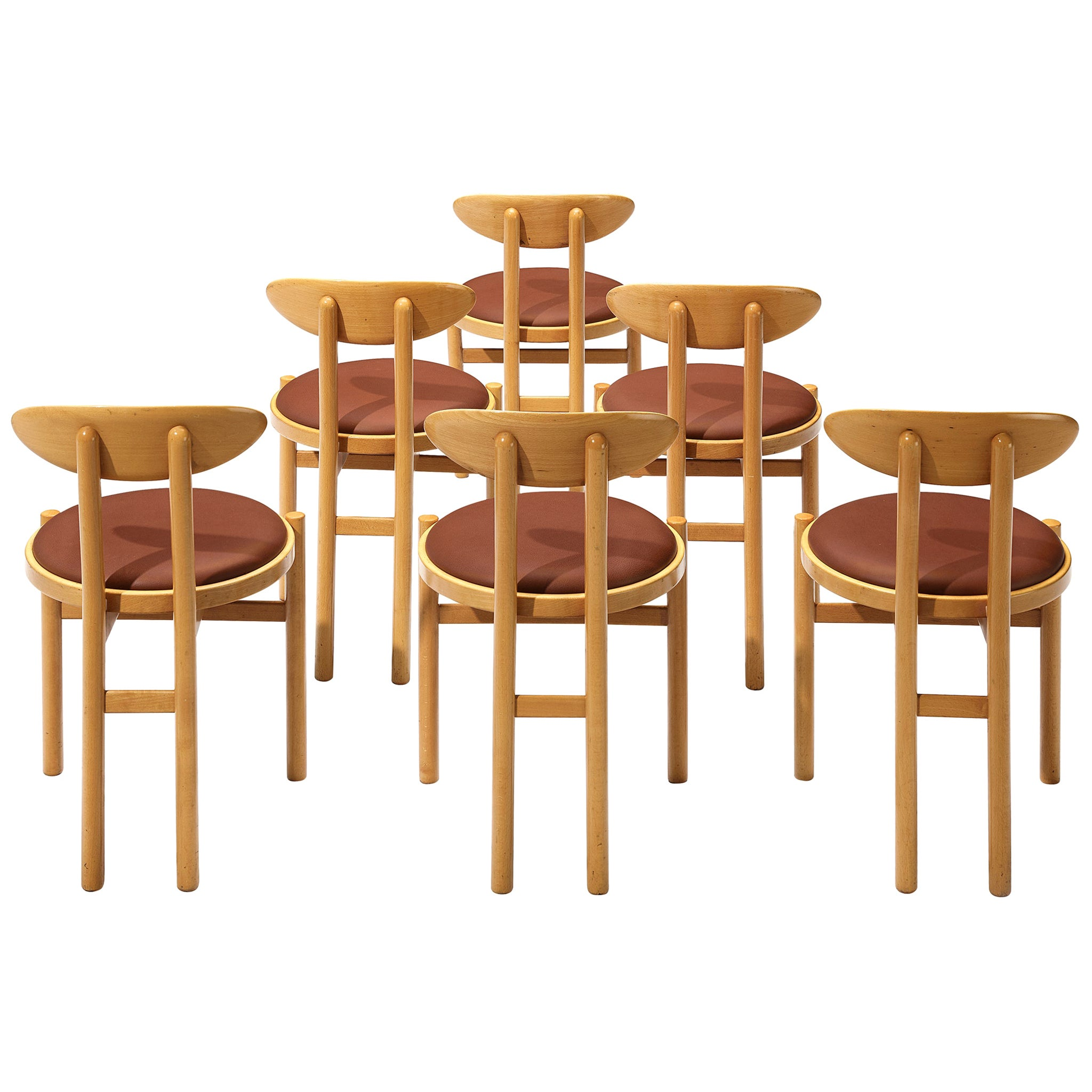 Set of Six Italian Dining Chairs in Beech by Pozzi