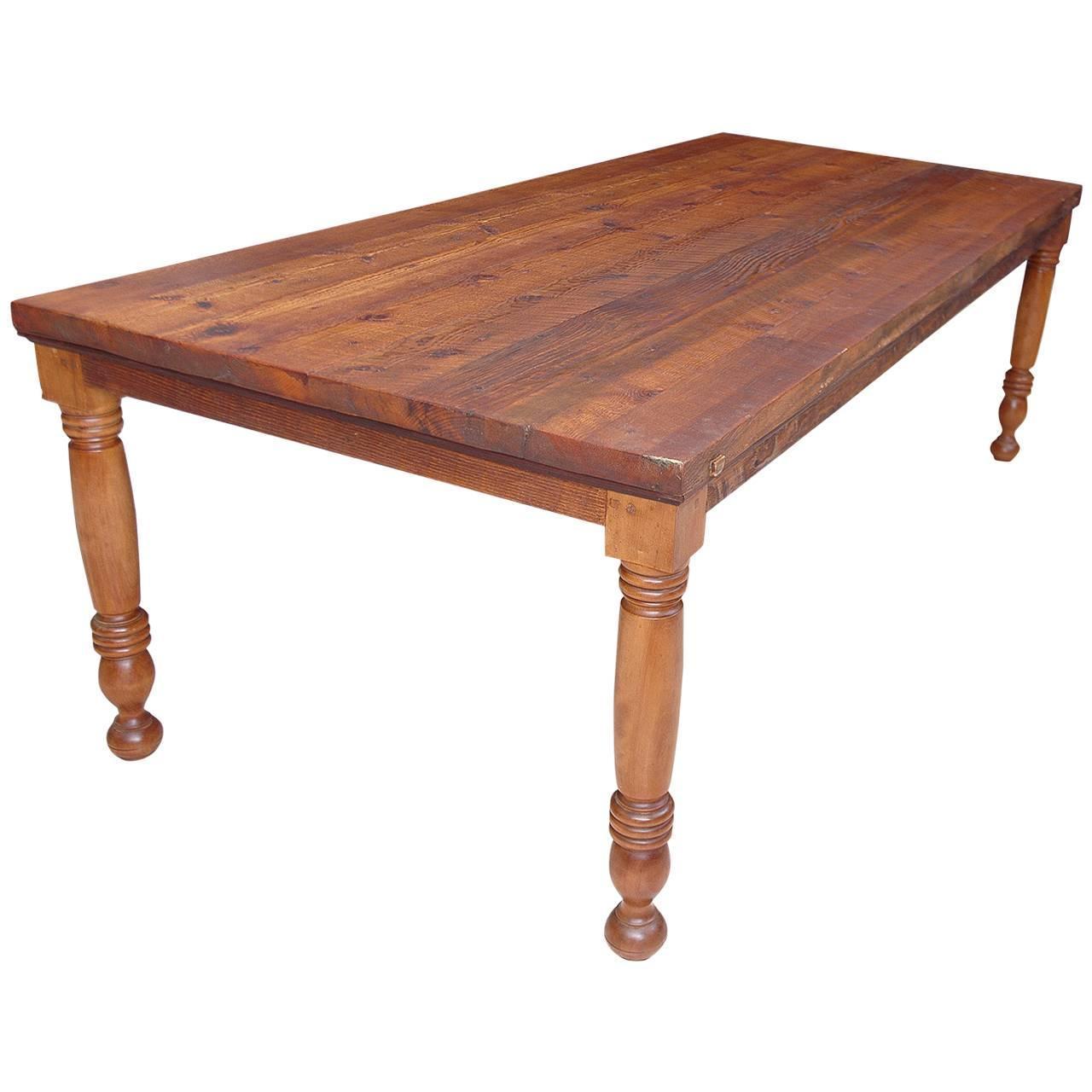 Farm Dining Table For Sale: Vintage Farm House Dining Table In Reclaimed Pine For Sale