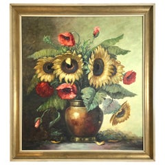 Sunflowers and Poppies Oil on Canvas Signed T. Elzer