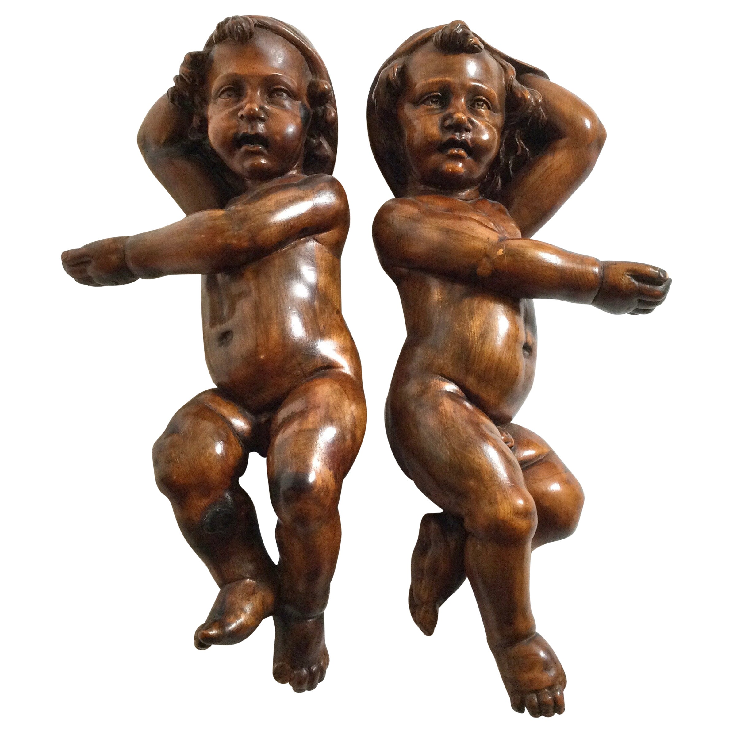 Pair of 19th Century Hand Carved Italian Walnut Cherubs