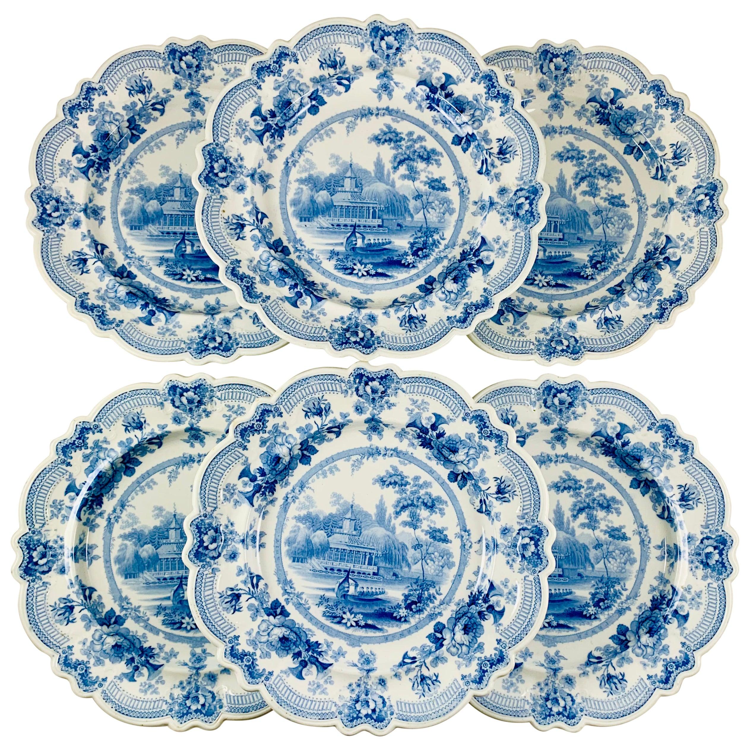 British Theme 'Royal Sketches' Blue on White Transferware Dinner Plates, Set/6