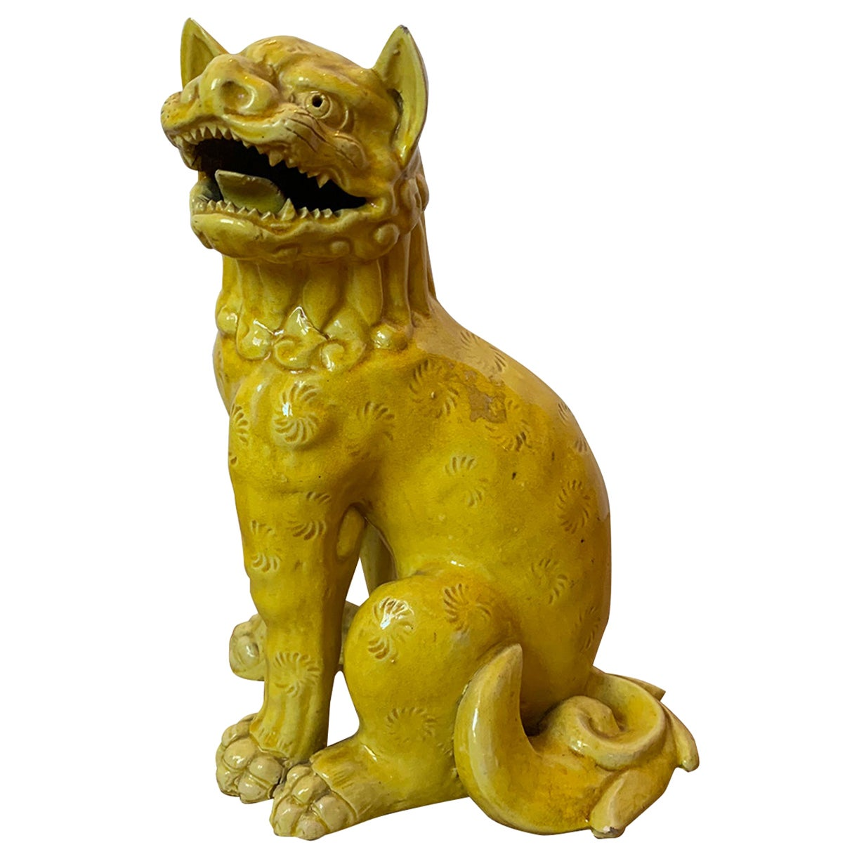 19th Century Chinese Imperial Yellow Handmade Pottery Foo Dog, Unmarked