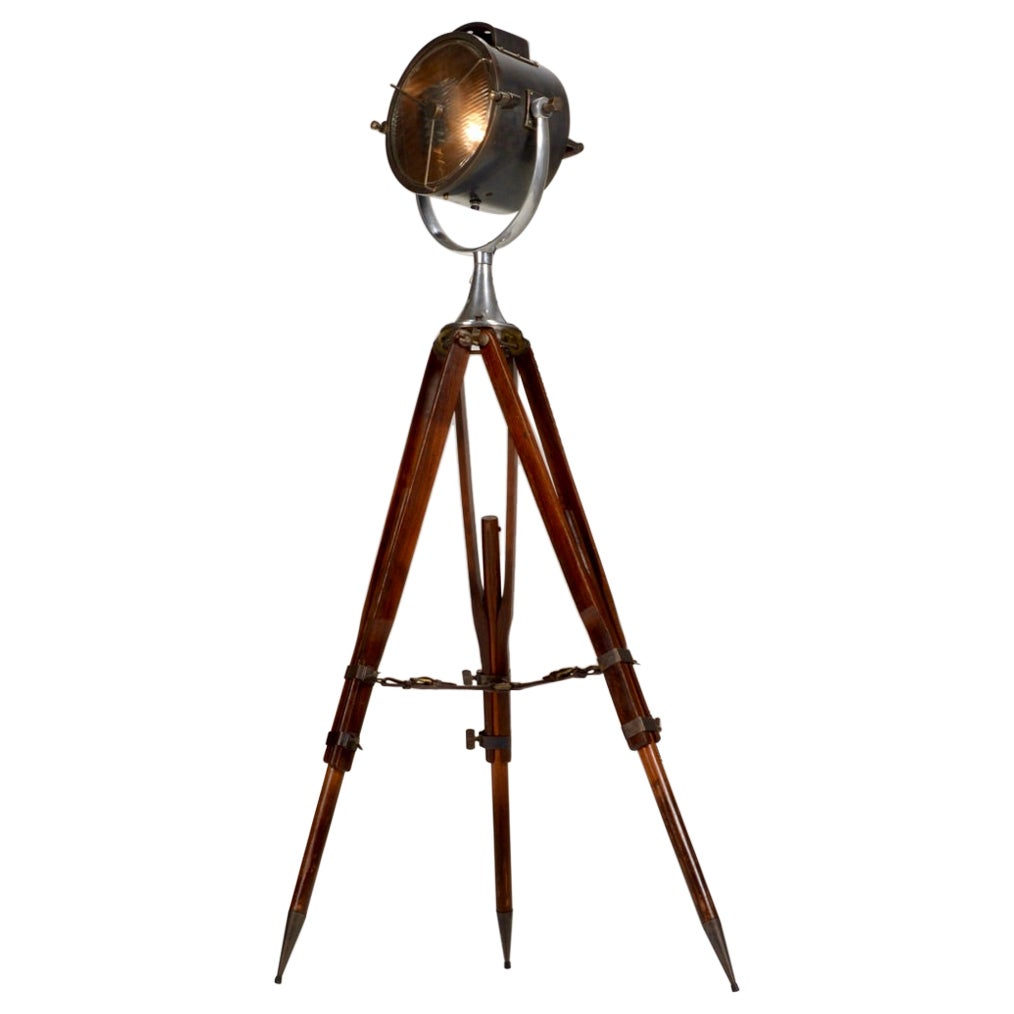 Vintage Wooden Tripod Spotlight Floor Lamp