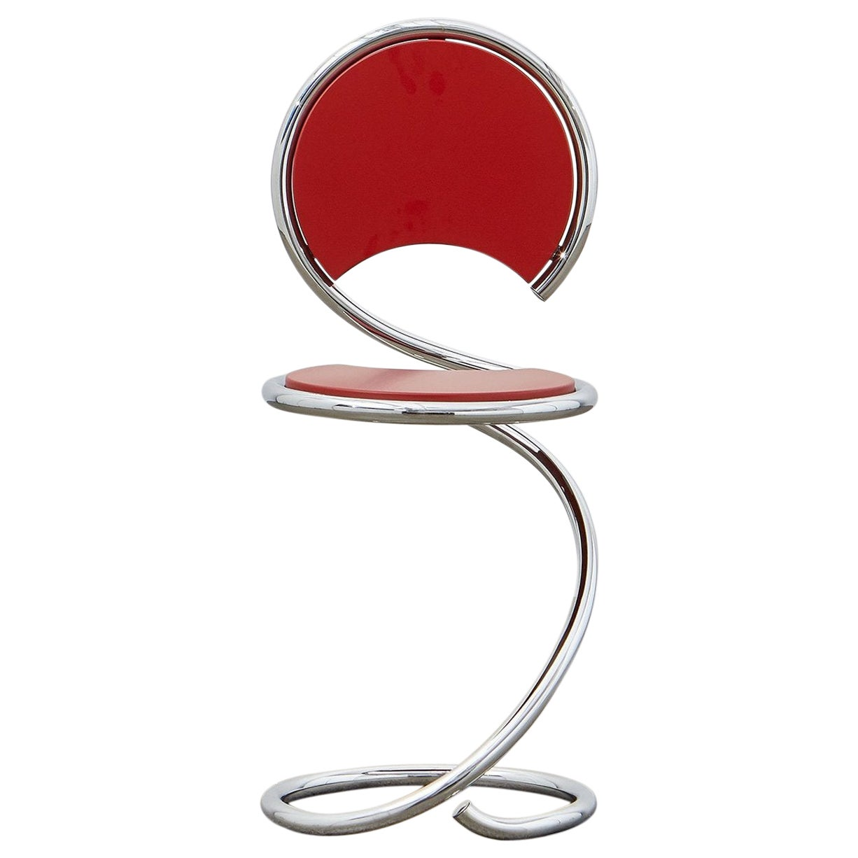 PH Snake Stool, Chrome, Red Painted Satin Matt, Wood Seat, Visible Tubes