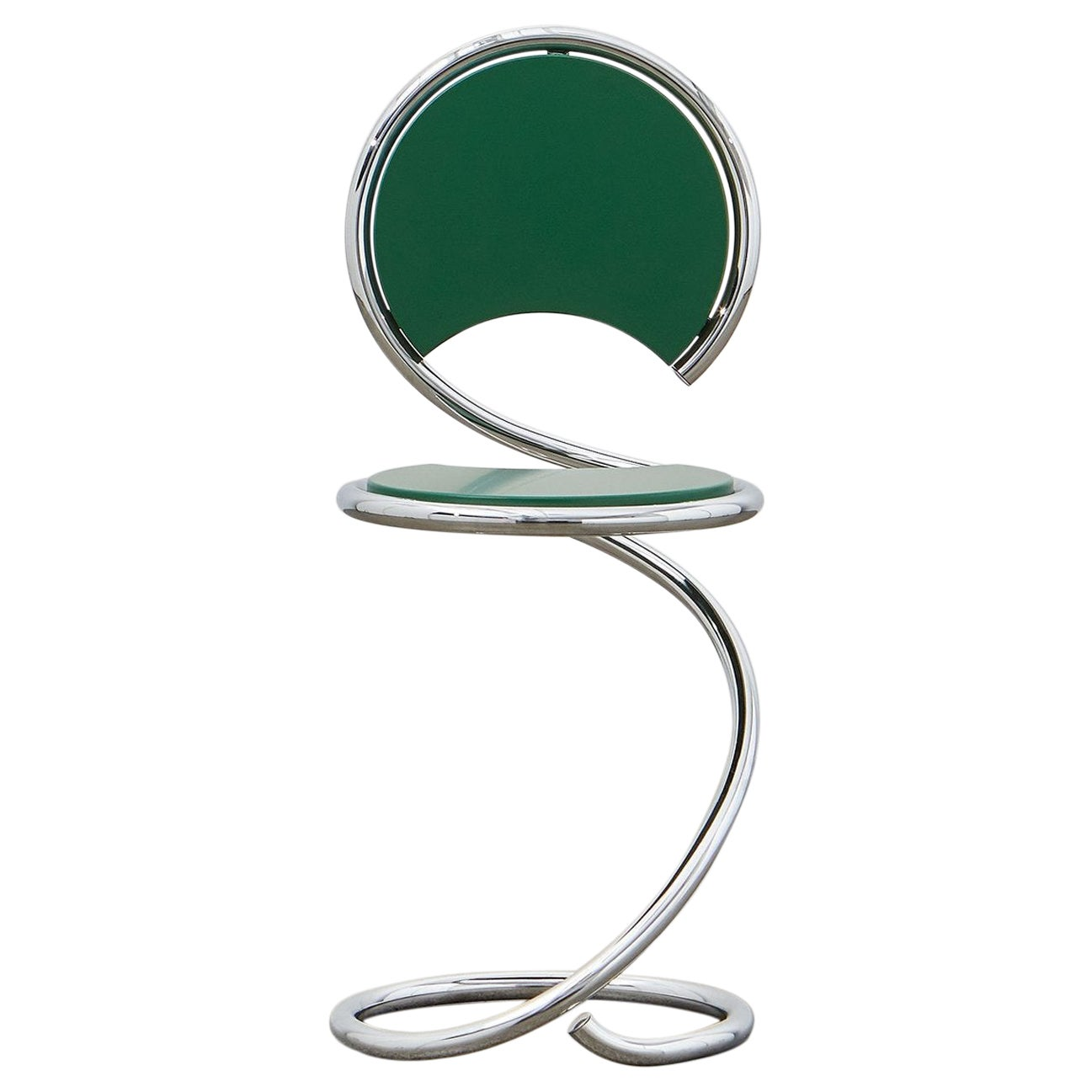 PH Snake Chair, Chrome, Green Painted Satin Matt, Wood Seat/Back, Visible Tubes