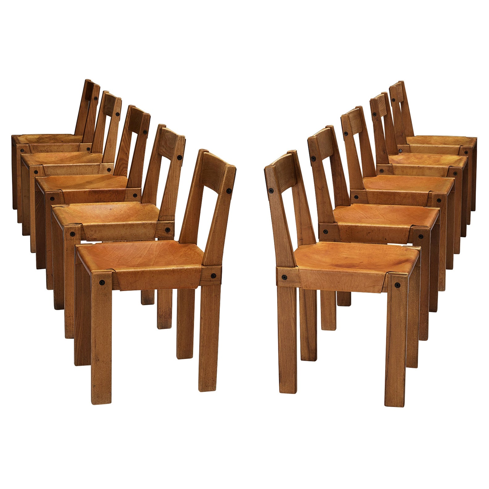 Pierre Chapo Set of Ten 'S24' Chairs in Solid Elm and Cognac Leather