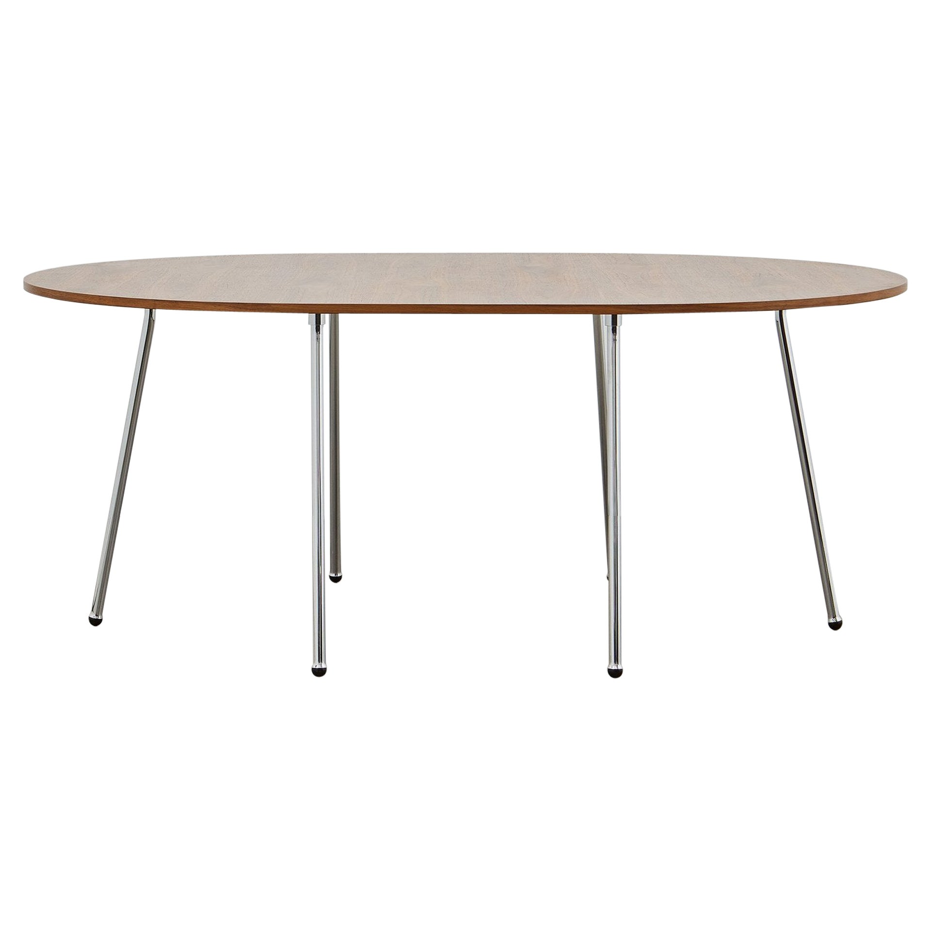 PH Dining Table, Chrome, Natural Oak Veneer Table Plate and Edge