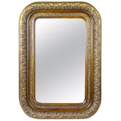 Gilt Biedermeier Wall Mirror with Rounded Corners, Austria, circa 1840