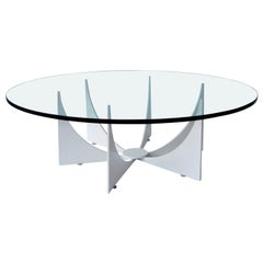 D. Drumm Style Round Glass Top Powder-Coated White Base Coffee or Cocktail Table